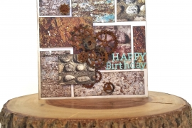 Happy Birthday card designed by Kerry Engel based on a sketch in a photo collage style with a rustic feel. card embellished with rusty gears.
