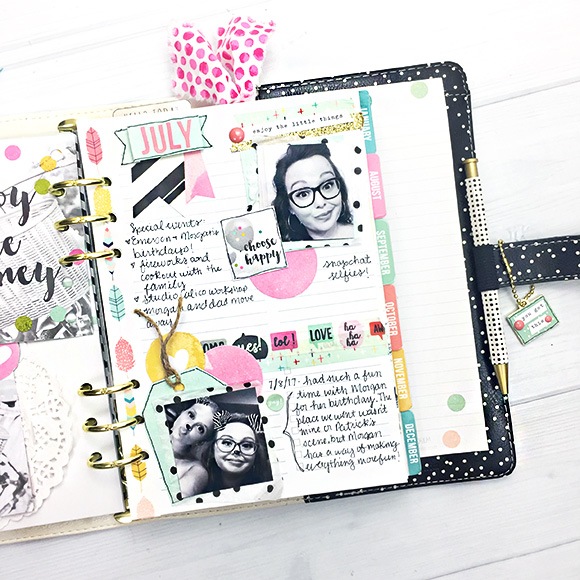 Inside a Simple Stories planner designed by Leah O'Nei