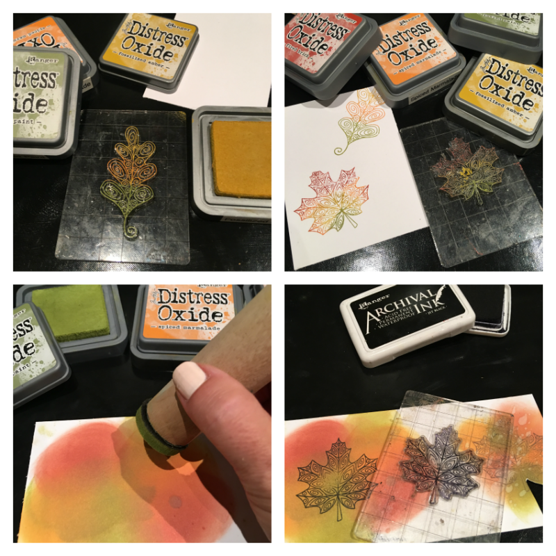 Step by steps to create a fall card stamping with Newton leaf stamps and inking with Ranger oxide inks.