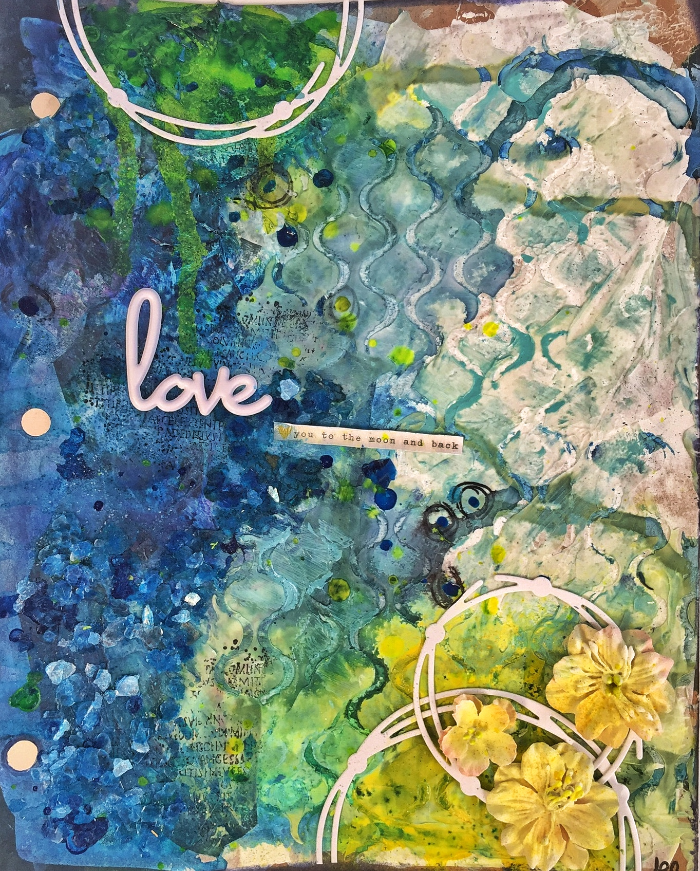 Mixed Media journaling page based on a sketch featuring Creative Memories flowers. Yellows and blues and lots of layers of texture paste