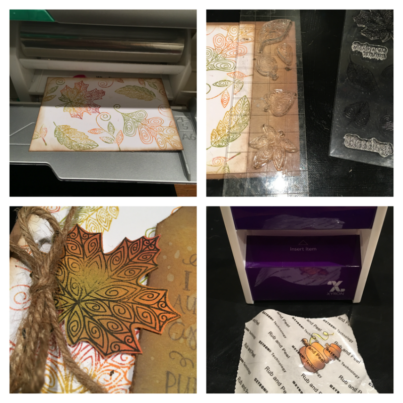 Step by steps to create a fall card using Xyron machine to adhere elements into place.