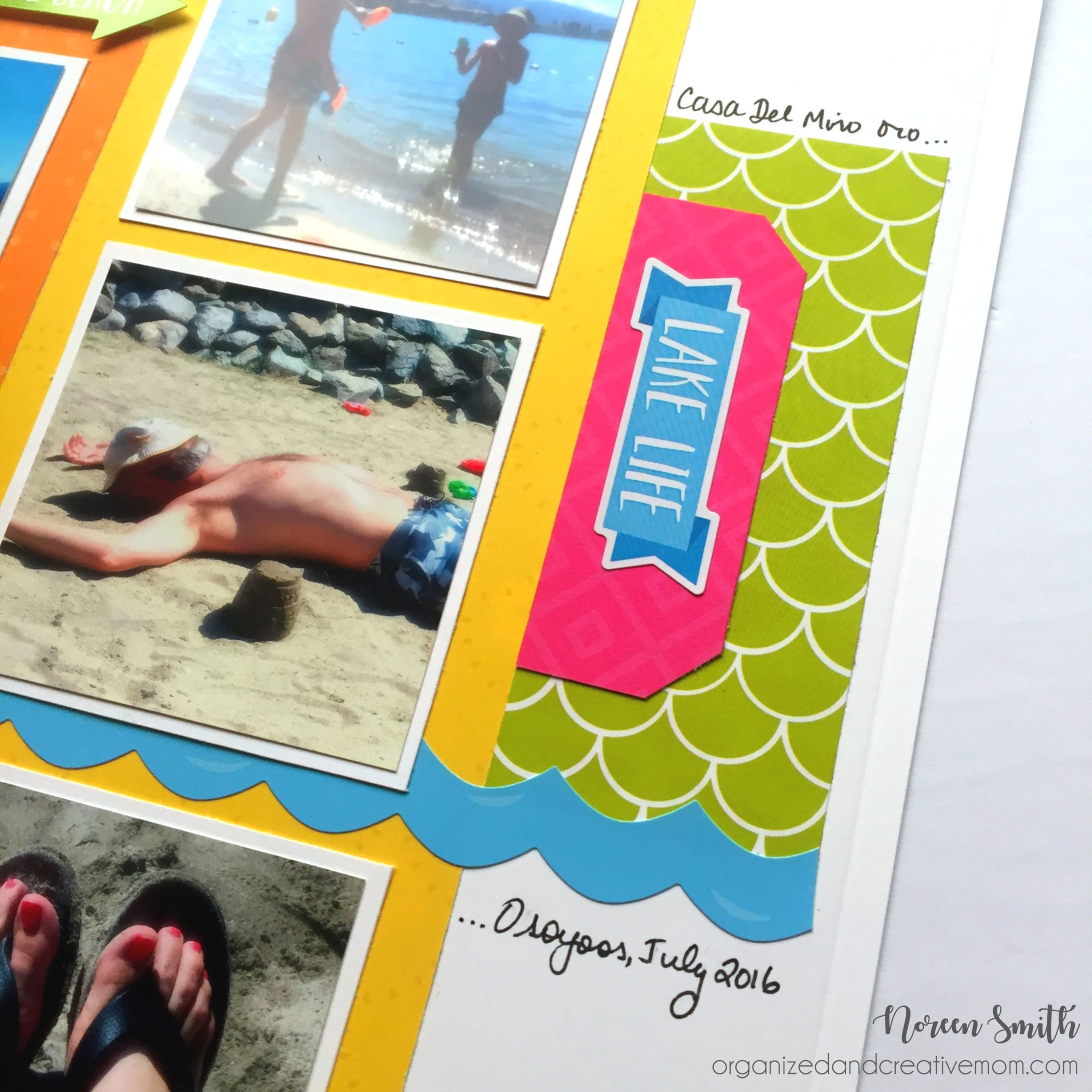 Creative Memories layout close up of their slice of summer collection stickers