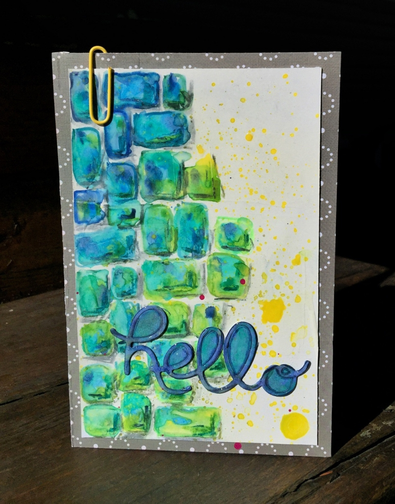 "Scrapbook card that says ""hello"" featuring Stabilo designed by Kerry Engel."