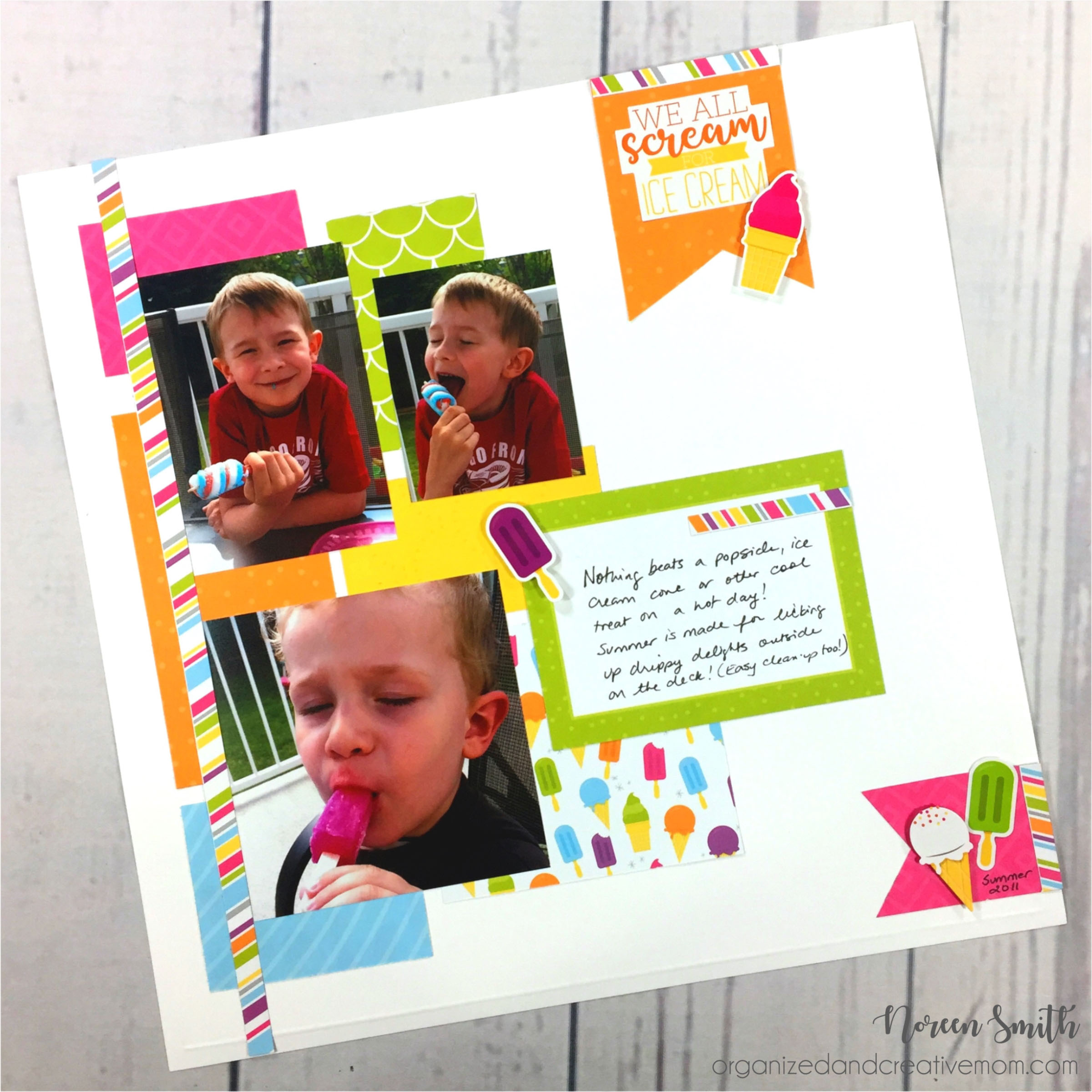 12X12 Creative Memories layout featuring Slice of Summer collection with photos of children eating popsicles