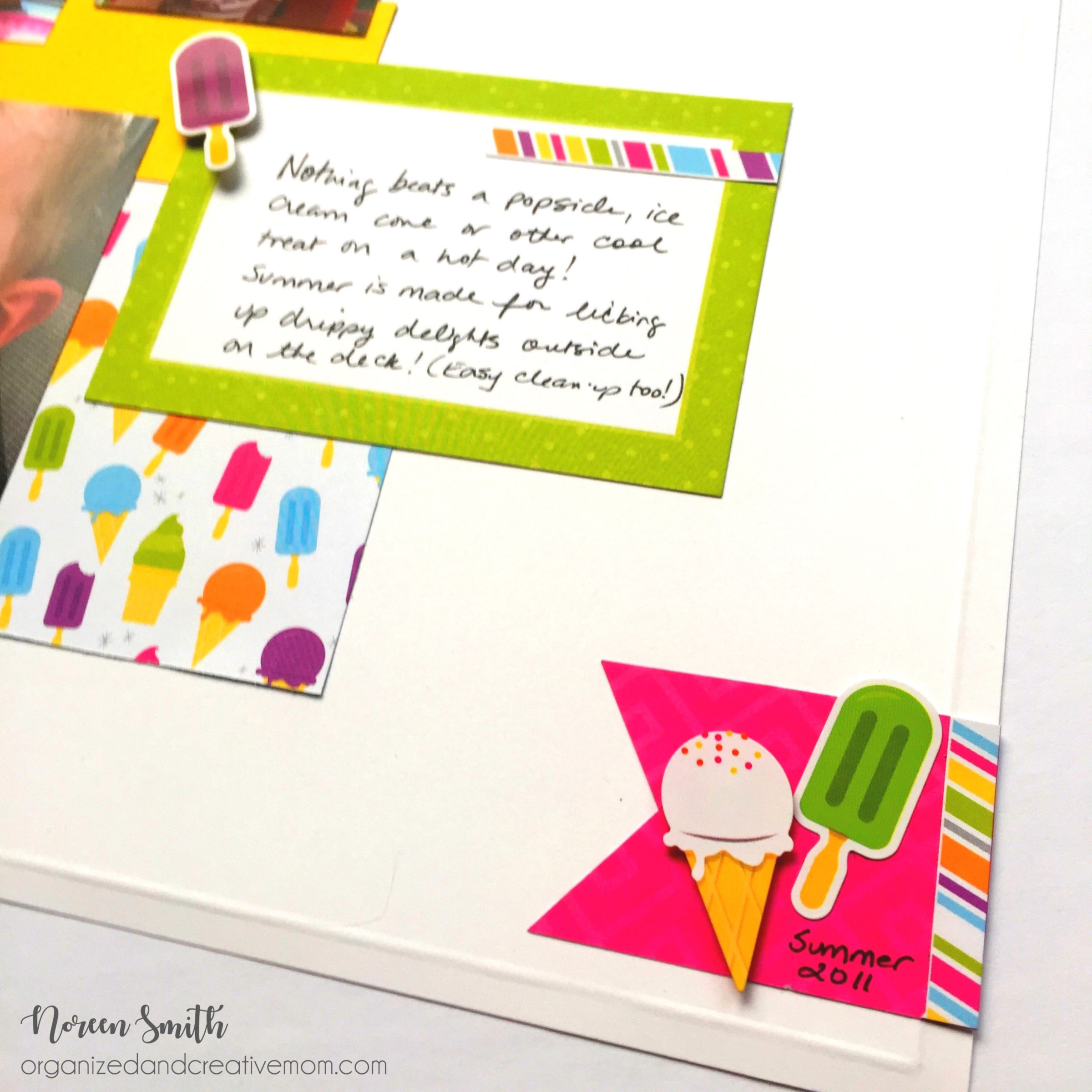 Close up of Creative Memories Slice of Summer layout die cuts and stickers