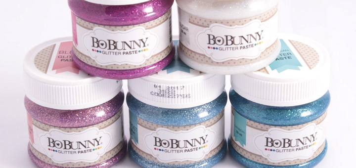 BoBunny mixed media glitter paste - 5 bottles in 5 different pastel colours.
