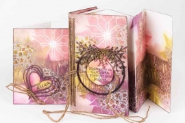 A scrapbook card and folio featuring Clearsnap with stamping and inking designed by Cathie Allan.