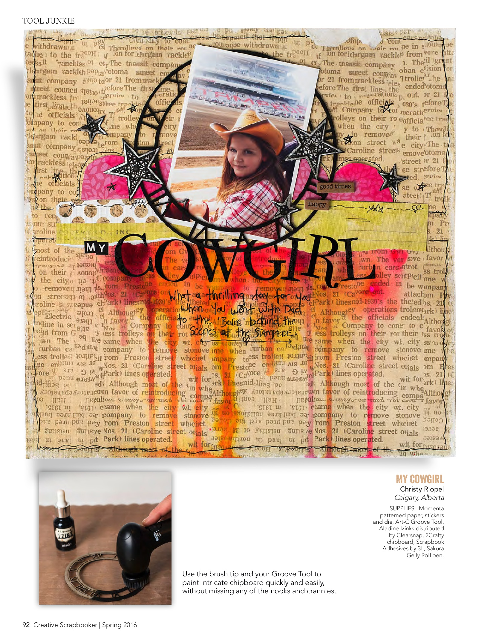 Scrapbook layout designed by Christy Riopel featuring the Momenta Groove Tool of a girl in a cowboy hat at the Calgary stampede