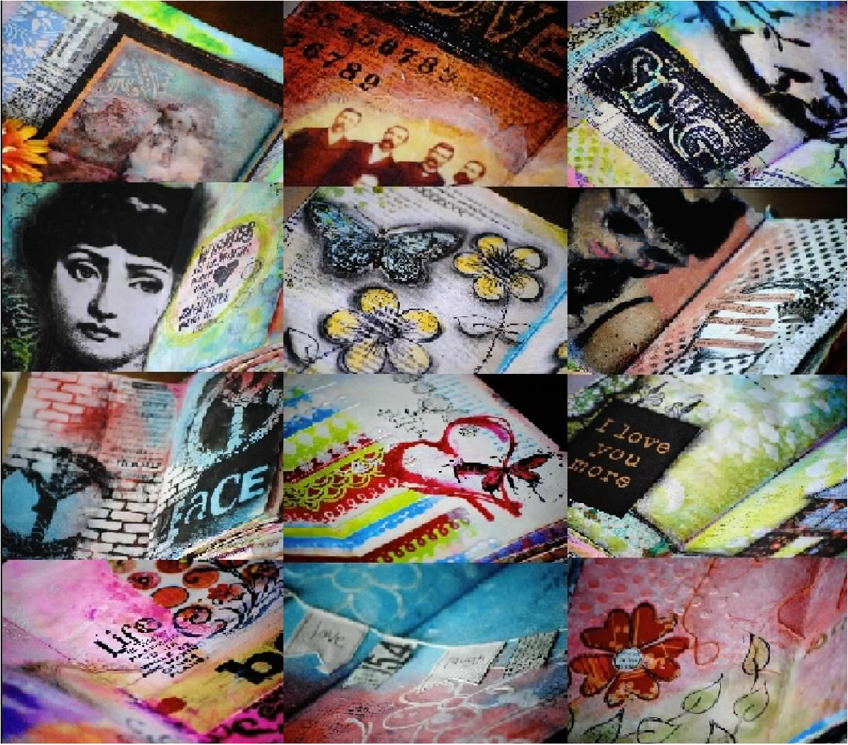 Collage of art journal images designed by Christy Riopel