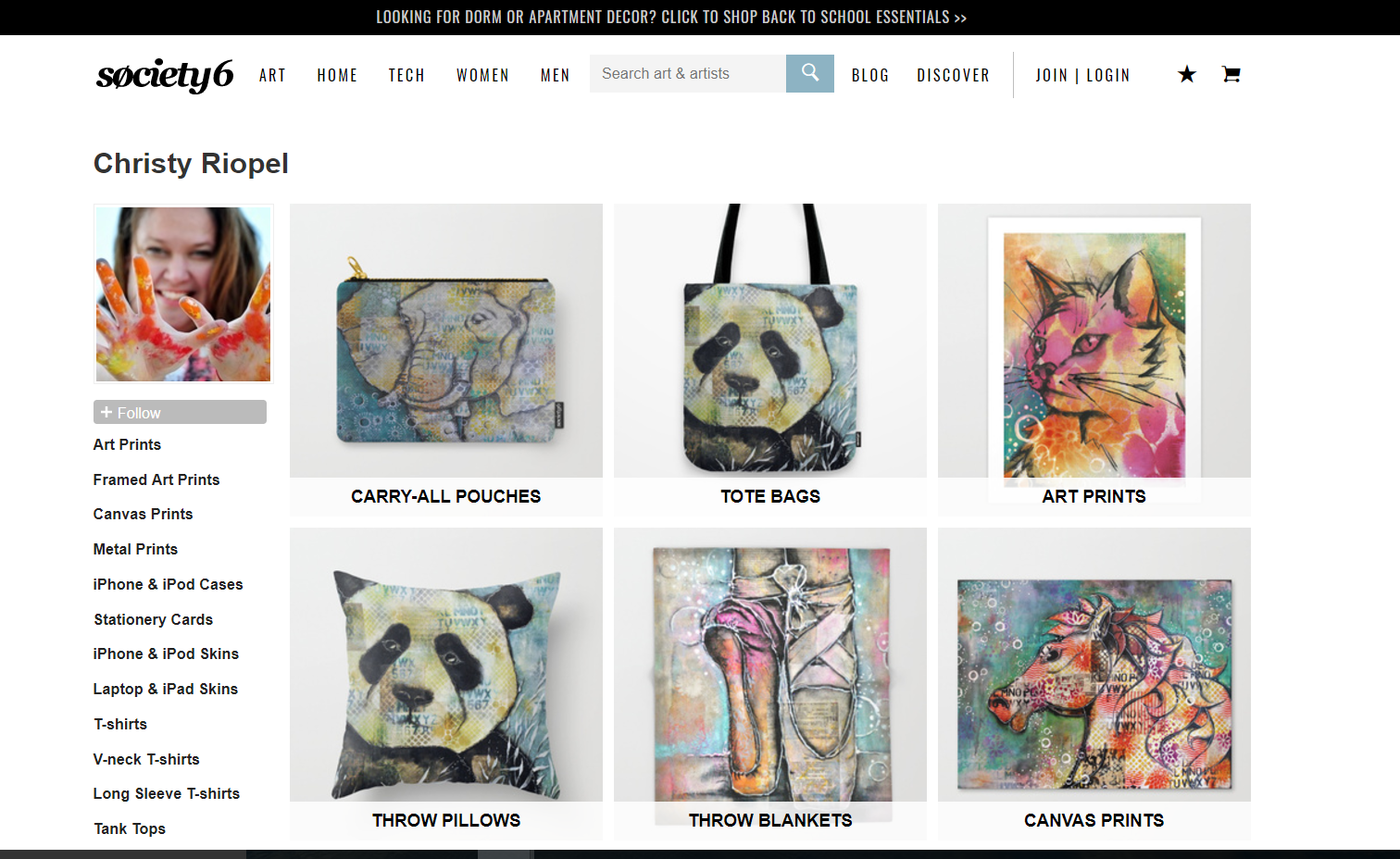 Screen shot of Society 6 website featuring Christy Riopels art on various items - pillows,prints, hone cases, bags and more