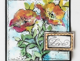 Scrapbook card designed by Christy Riopel featuring art journaling techniques with stencils and nuance powders