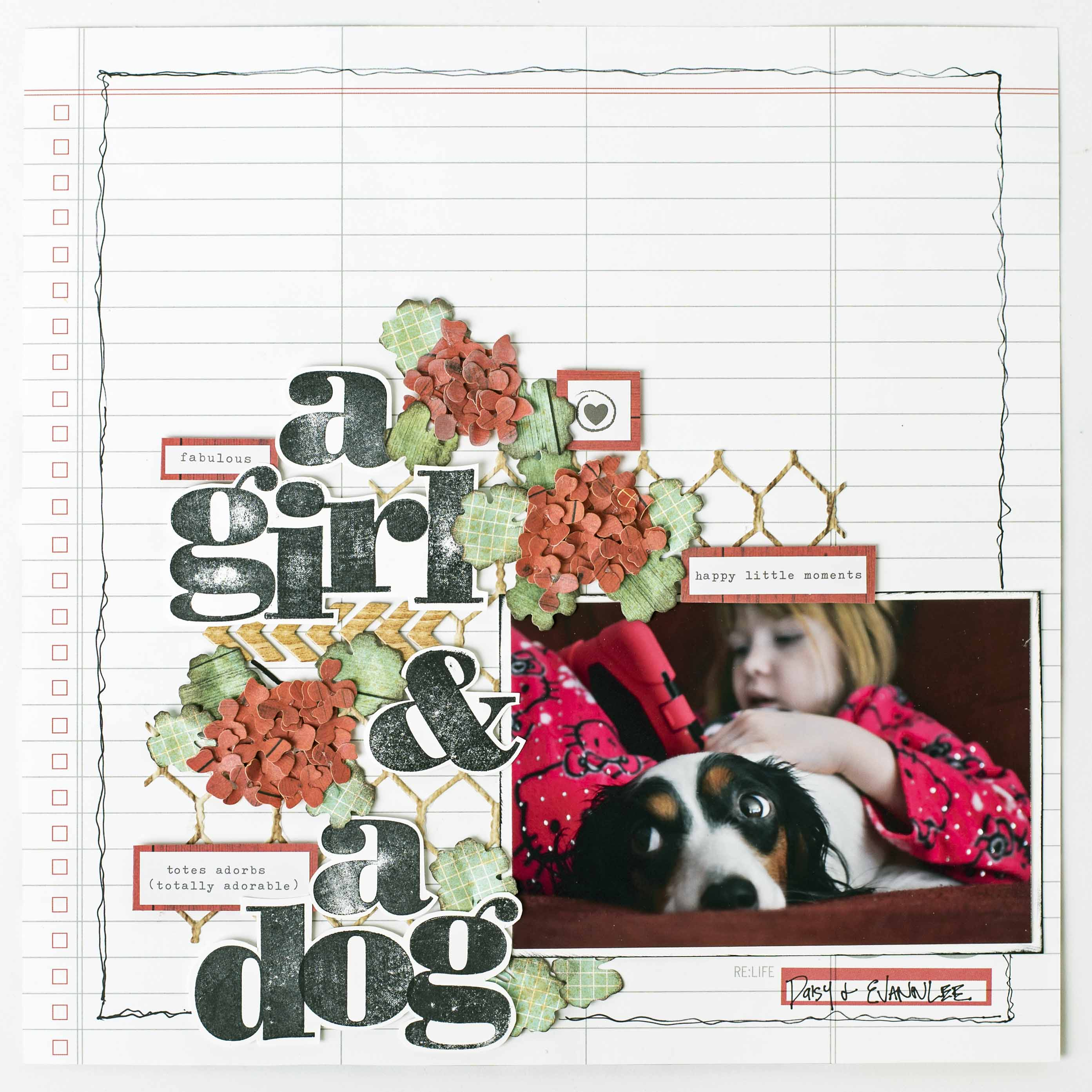 Scrapbooking layout designed by Christy Riopel with a photo of a little girl and her dog featuring intricate dies from Elizabeth Craft Designs and Stampin' Up! aphabet