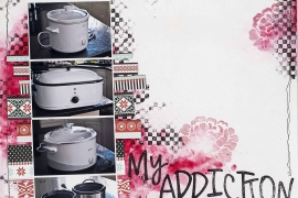 12X12 scrapbook layout designed by Christy Riopel featuring her crockpots. Mixed Media background with stamps and ink.
