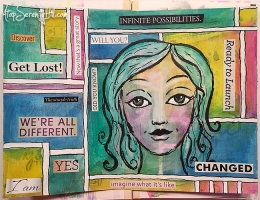 Art Journal page designed by Consie Sindet featuring stenciling.