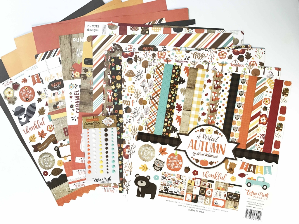 Collection of patterned papers and embellishments designed by Echo Park with an autumn theme