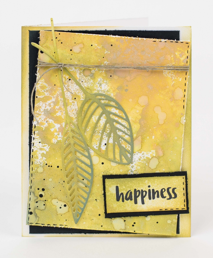 Happiness scrapbooked card featuring Elizabeth Craft Designs product and Ranger Tim Holtz oxide inks