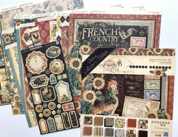 Collection of patterned paper designed by Graphic 45 with a french country theme