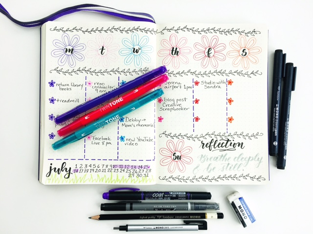Bullet Journal BuJo weekly spread using Tombow TwinTone Pens and new Mono Drawing Pens @csmscrapbooker @tombowusa