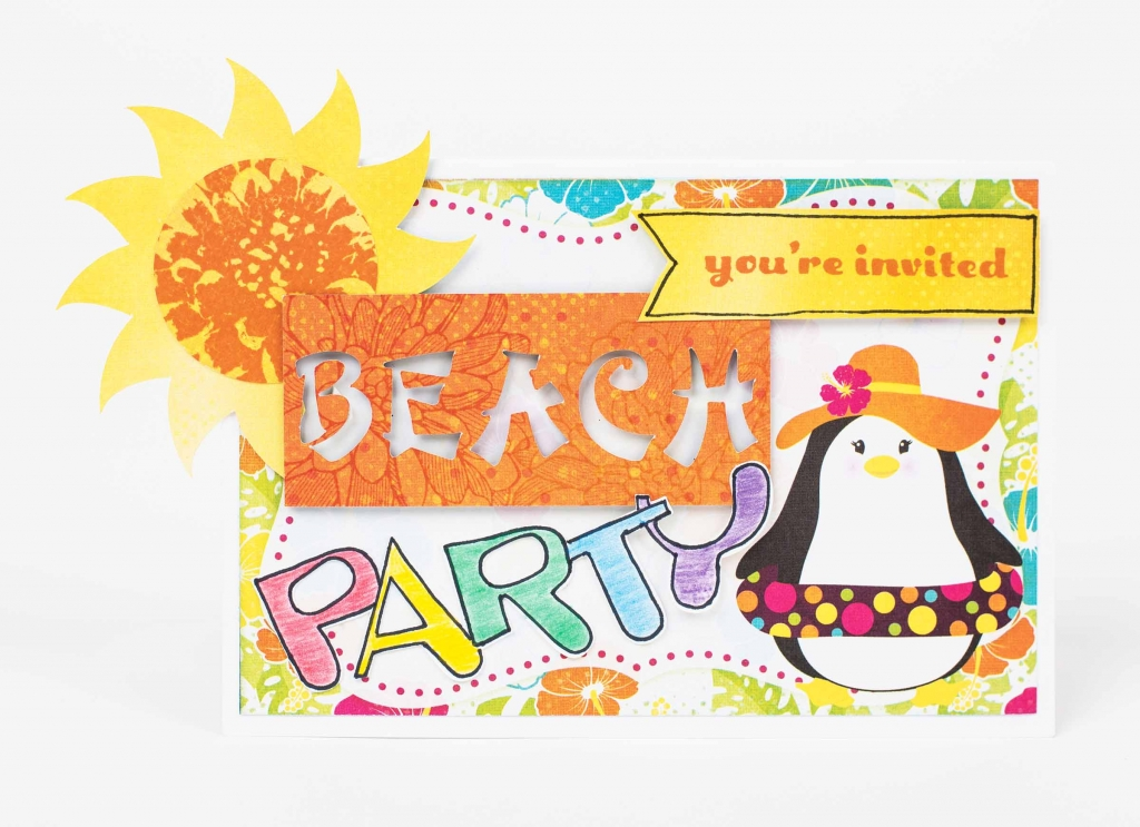 Beach card invitation created using the Brother ScanNCut. Happy penguin die cut along with a yellow stamped sun.
