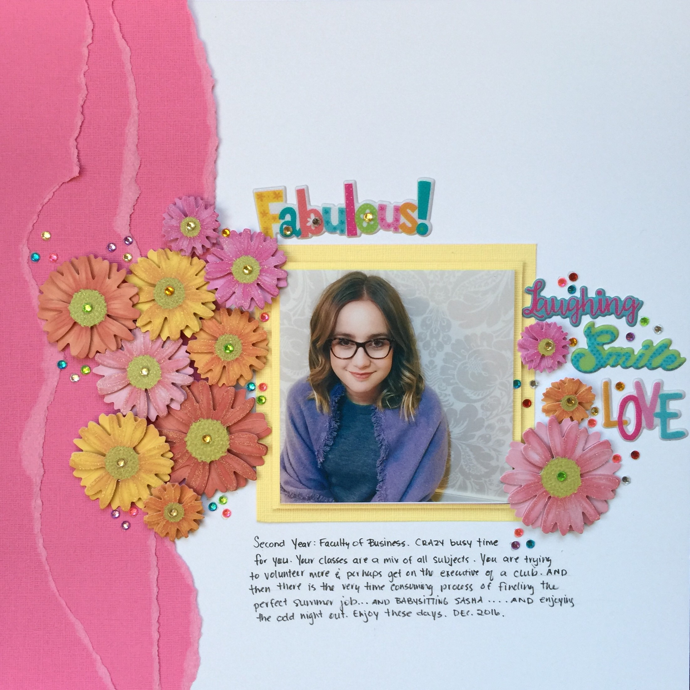 Scrapbooking projects designed by Kerry Engel featuring MultiCraft product of a young girl sitting in front of a white floral wall paper