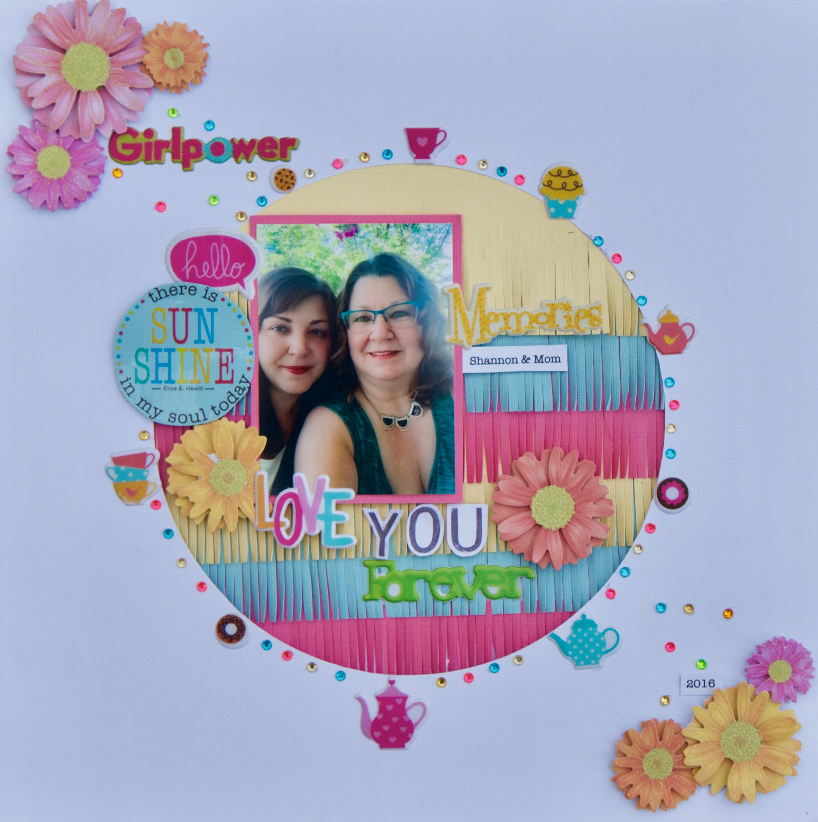 Scrapbooking projects designed by Lee-Anne Thornton featuring MultiCraft supplies of a mother and daughter with the focus being a big circle.