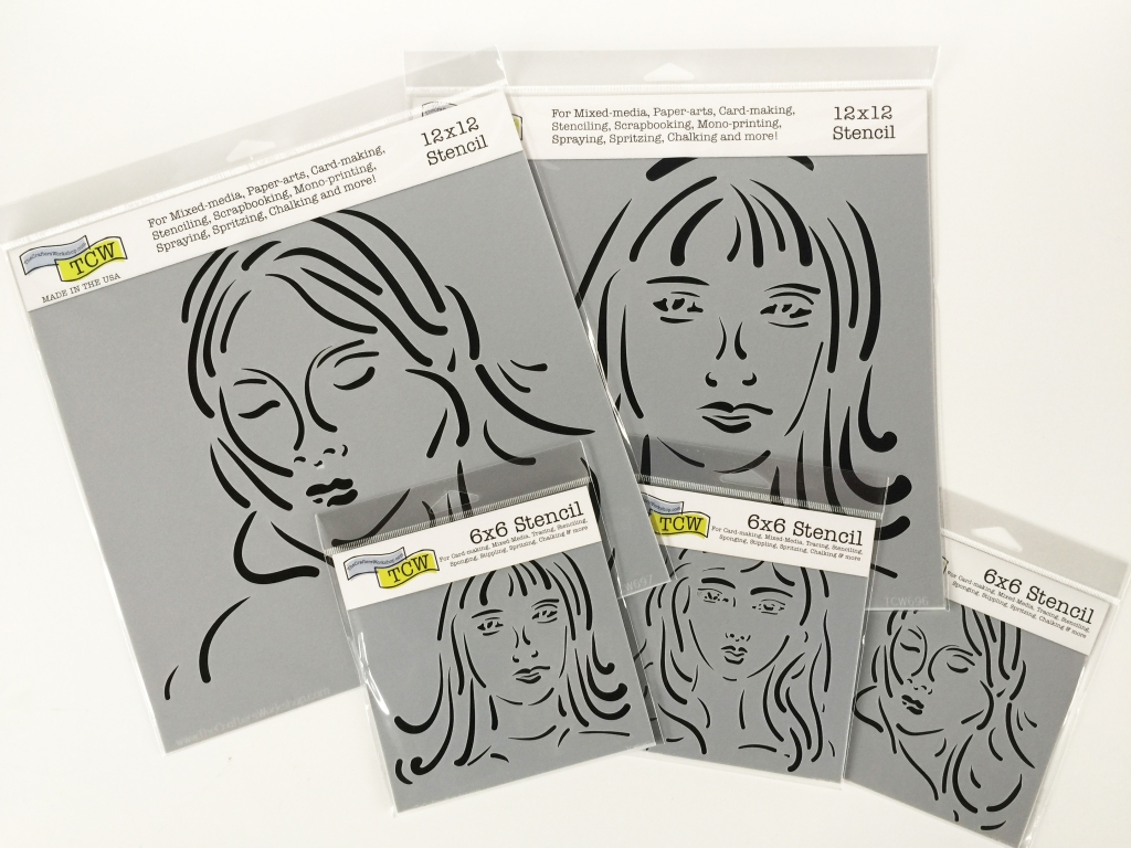 Five stencils of girl faces designed by Milagros Rivera for The Crafter's Workshop