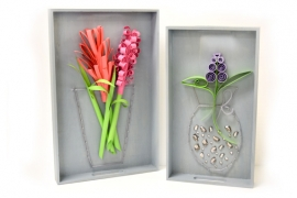 Paper flower art project of quilled like flowers in a shadow box.