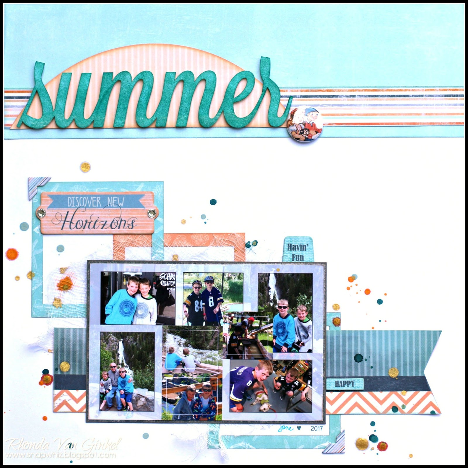 Scrapbook layout featuring Quick Quotes designed by Rhonda Van Ginkel of a beautiful summer night