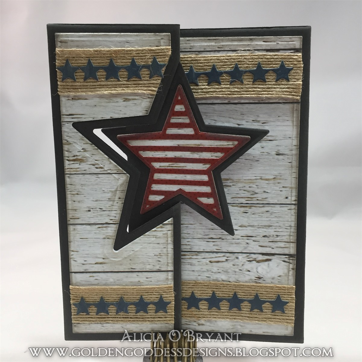 USA themed scrapbooked card featuring Quick Quotes designed by Alicia O'Bryant