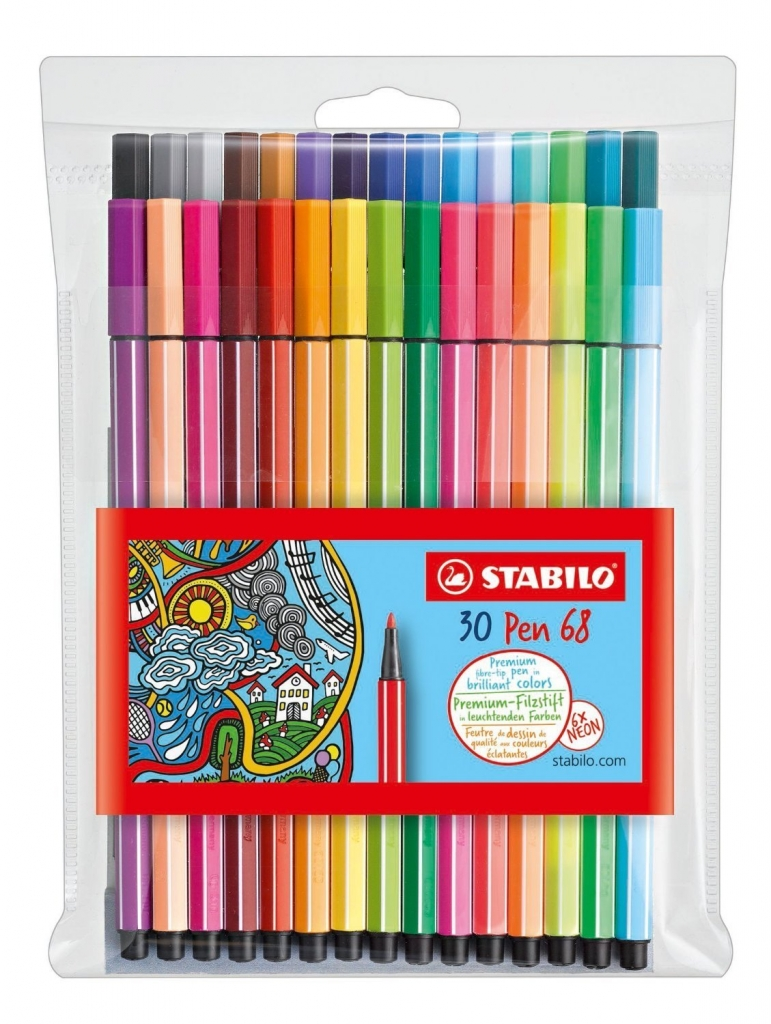 Set of 30 Stabilo pen 68 pens for coloring, drawing and writing