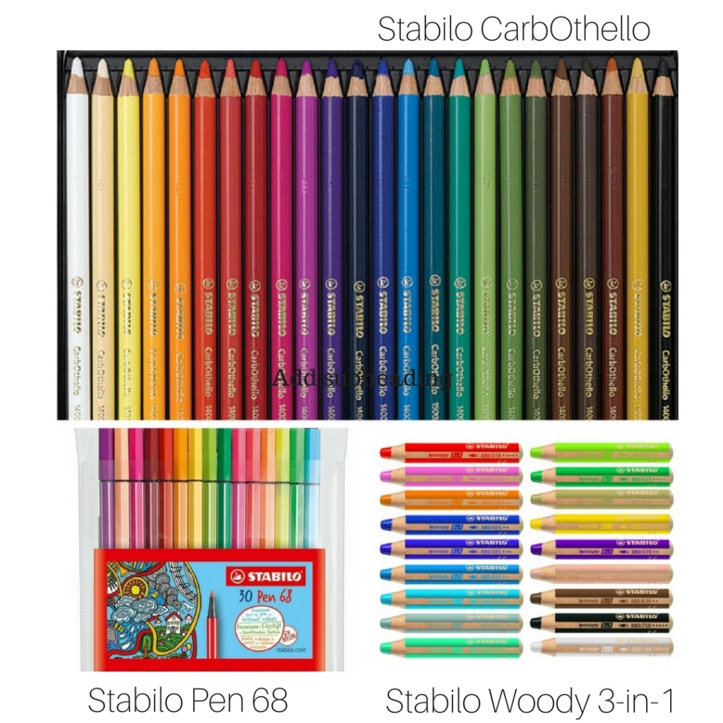 Three different types of Stabilo products including Woody 3-in-1, CarbOthella's and Pen 68