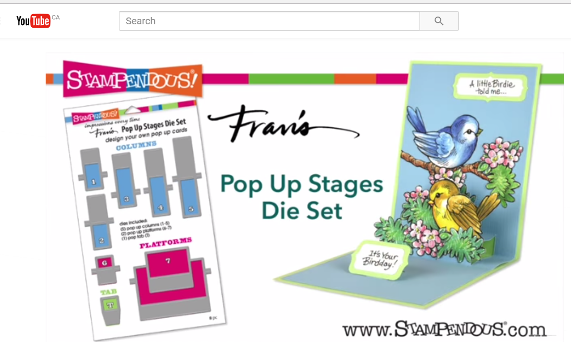 screen shot from a computer of Stampendous YouTube channel of a pop up scrapbook card