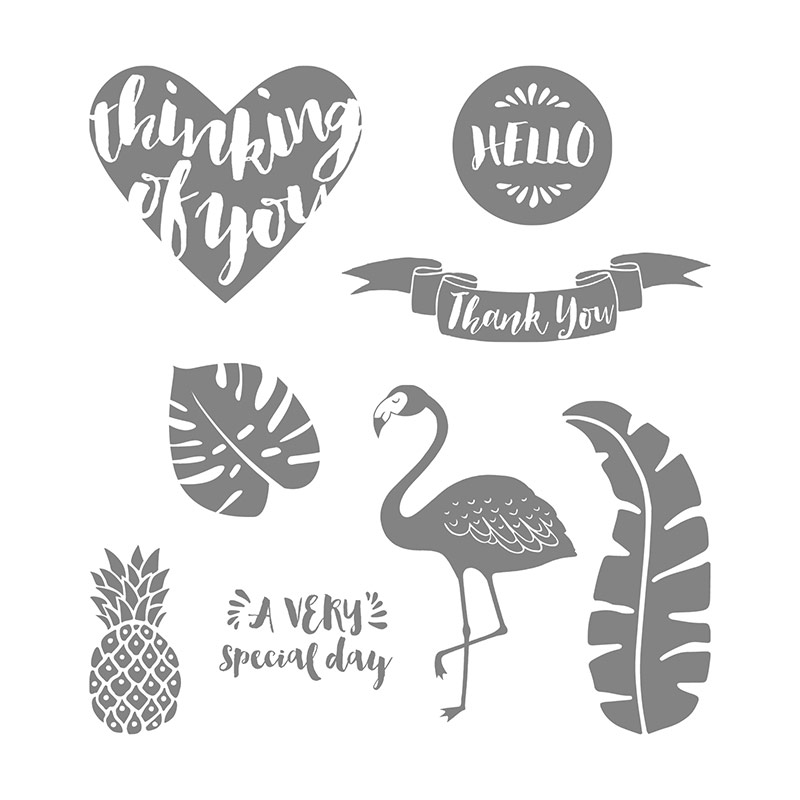 Stampin' Up! Pop of Paradise stamp set that includes hearts, pineapples, flamingos, leaves and sentiments.