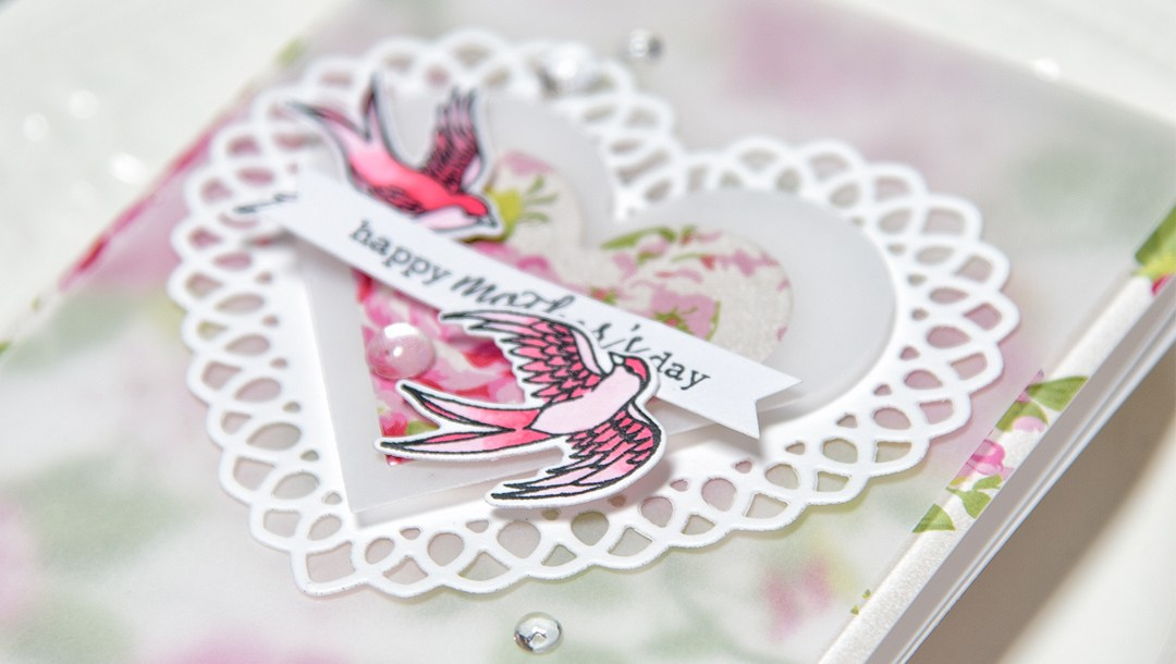Intricate scrapbook mother's day card designed by Yana Smakula featuring Spellbinders dies