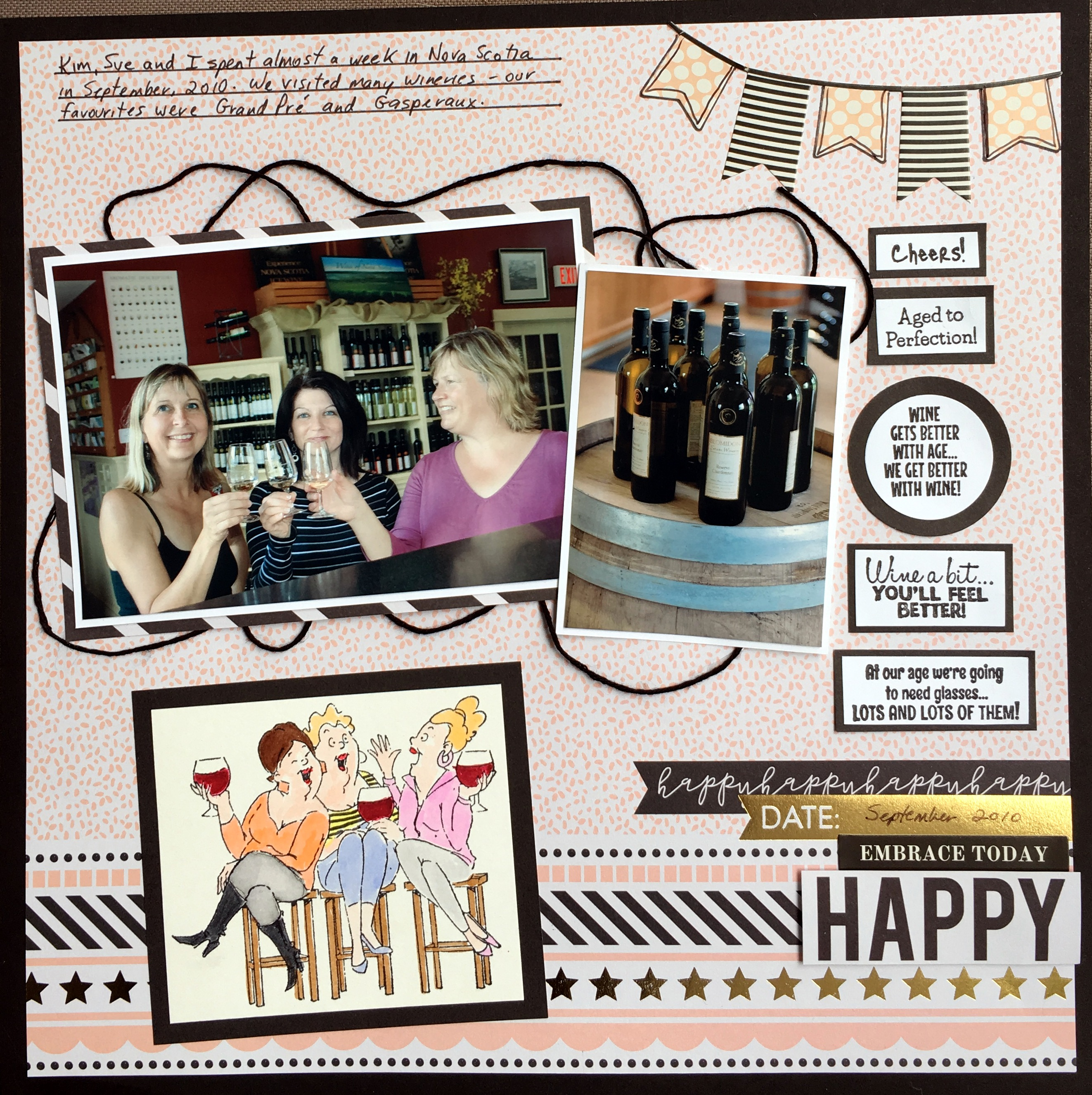 Funny Stamps By Art Impressions On A Girlfriend Themed Scrapbook Layout