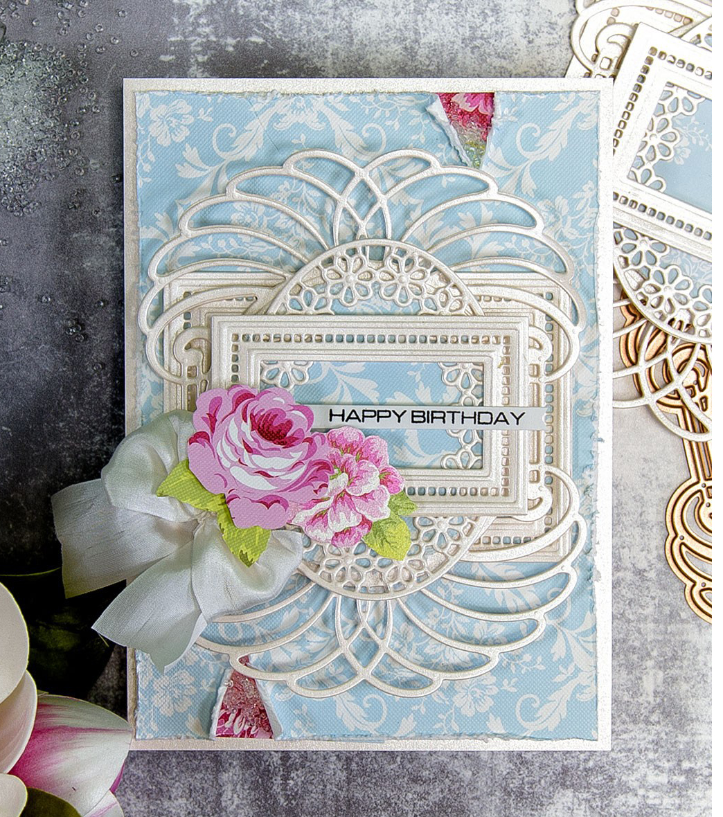 Intricate scrapbook birthday card designed by Yana Smakula featuring Spellbinders dies