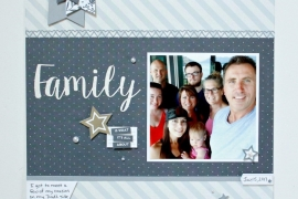 Scrapbook layout featuring Basic Fundamental collection from Close To My Heart of a family photo.