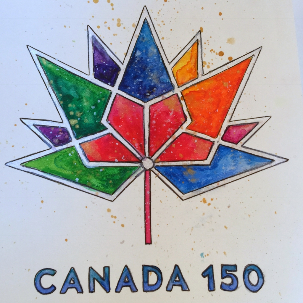 Coloring Canada 150 logo with Tombow Dual Brush pens