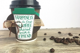 Paper coffee cup with a stamped tag attached featured Stampin' Up! stamps.