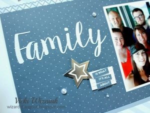 Close up of the word FAMILY on a scrapbook layout featuring the Close To My Heart Basic Fundamentals collection.