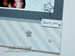 Close up of embellishments on a scrapbook layout featuring the Close To My Heart Basic Fundamentals collection.