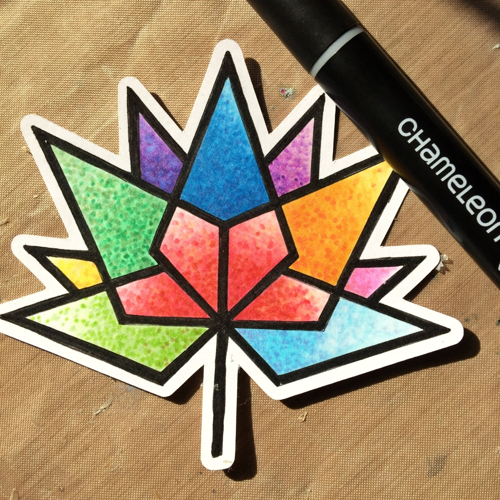 Coloring the Canada 150 logo with Chameleon pens