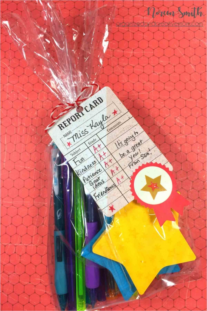 A little teacher gift wrapped in cellophane featuring the Creative Memories Bookworm collection.