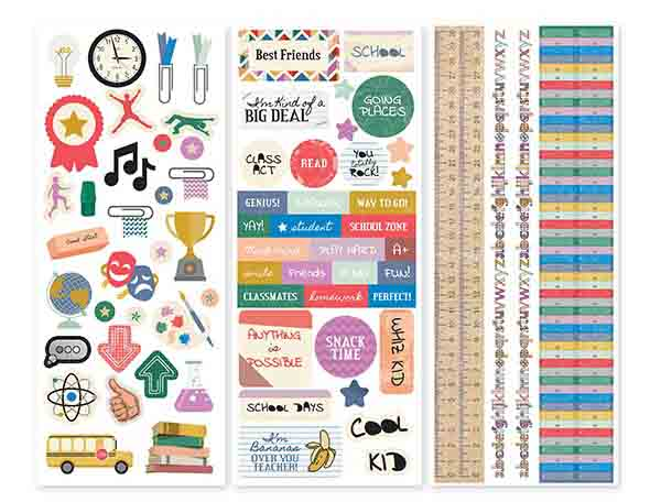 Collection of stickers called Bookworm designed by Creative Memories featuring back to school themes.