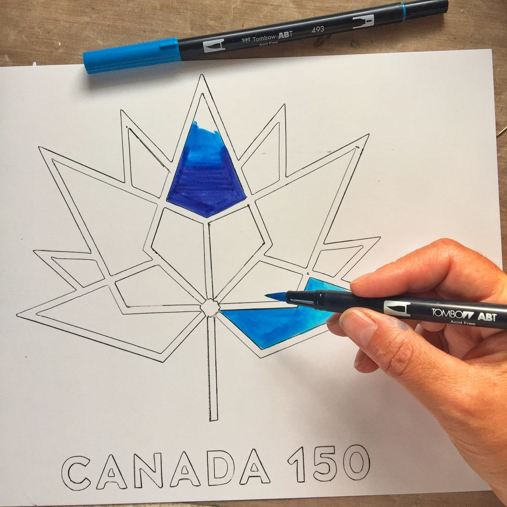 Coloring the Canada 150 logo with Tombow Dual Brush pens