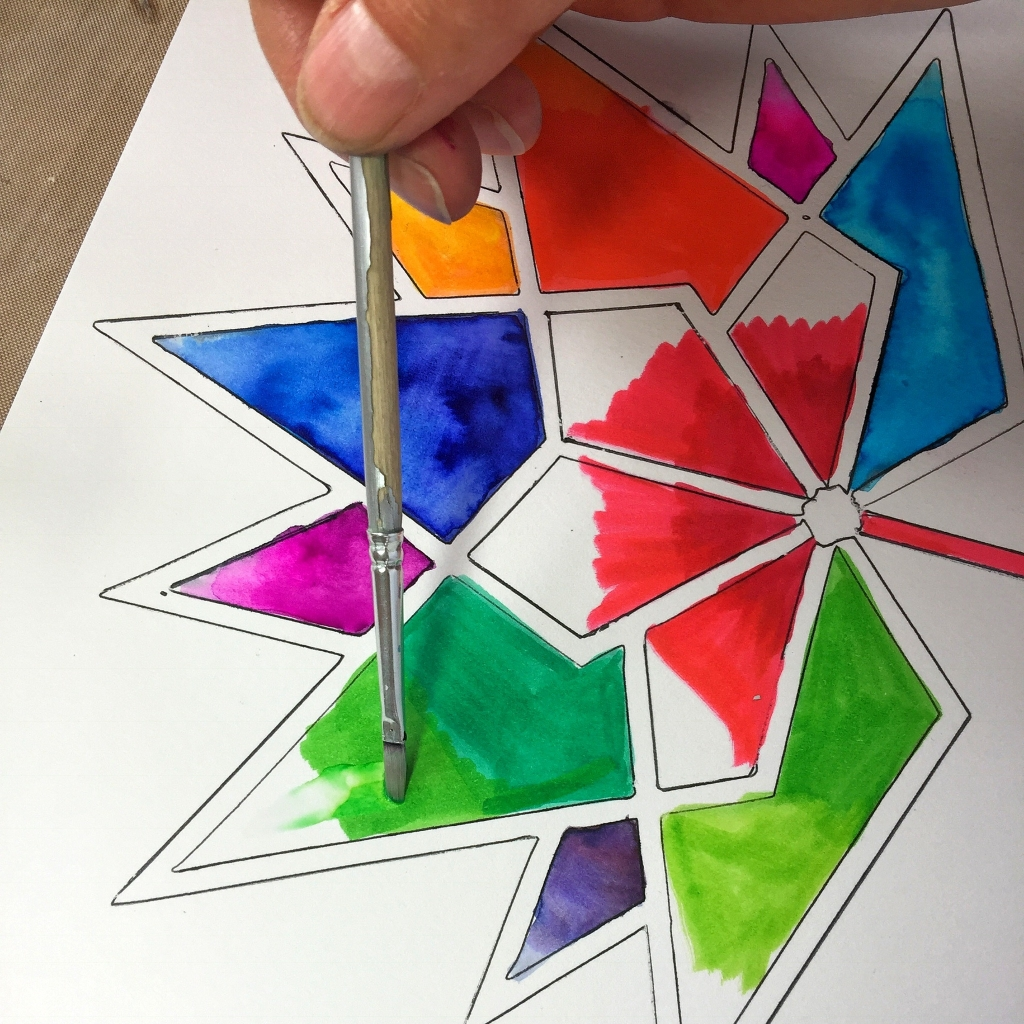 Coloring the Canada 150 logo with watercolours