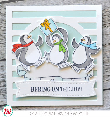 Christmas card designed by Jamie Gracz featuring Avery Elle penguin stamps