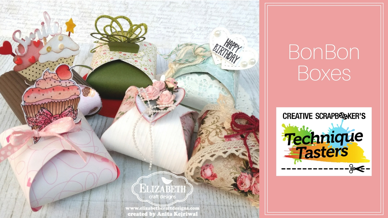 A variety of BonBon boxes featuring Elizabeth Craft Designs products and Tim Holtz for Ranger oxide inks.