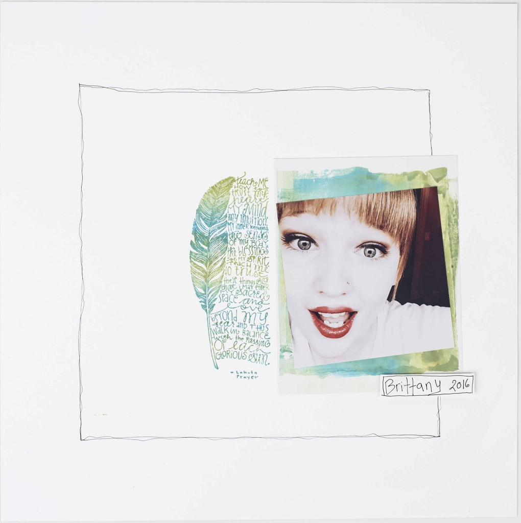 Scrapbook layout of a headshot of a young girl with a basic white background designed by Christy Riopel featuring an ombre effect using distress inks.