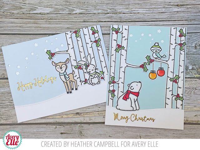 Two Christmas cards designed by Heather Campbell featuring Avery Elle winter themed animal stamps.